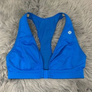Lululemon Bright Blue Front Closure Sports Bra